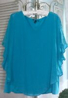 NEW ~ Plus Size 3X Turquoise Blue Gauze AGB Boho Chic Poncho Flutter Top Blouse