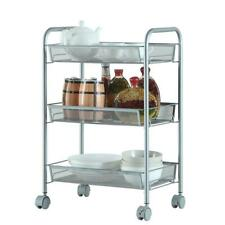 Honeycomb Mesh Style 3-Layer Removable Storage Cart Silver Tableware Trolley