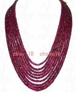 """9 Rows Of Madagascar Ruby Gemstone Faceted Bead Necklace 17-25""""  plating silver"""