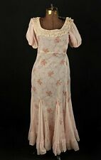 VTG Women's 30s Pink Floral Print Maxi Dress w Poof Sleeves Sz S 1930s