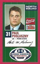 PAUL POSLUSZNY 2007 SENIOR BOWL RC PENN STATE NITTANY LIONS JACKSONVILLE JAGUARS