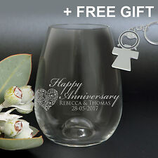 Personalised Engraved 'Happy Anniversary' 460ml Stemless Wine Glass Gift Present