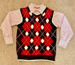 Children's Place Boys Black & Red Argyle Sweater Vest & Striped Dress Shirt Sz 7