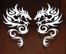 "TRIBAL DRAGON VINYL DECALS STICKERS 8"" WHITE  NEW SET OF 2"