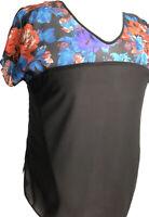 New Plus size Ladies Curves Top Black Floral yoke V-Neck UK Seller size 18/20