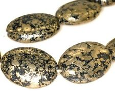 """IRON PYRITE WITH INTRUSION GEMSTONE BLACK & GOLD OVAL 18X13MM LOOSE BEADS 7.5"""""""