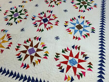 Stars w/ Flying Geese Scrap fabric FINISHED QUILT - King Size Masterpiece