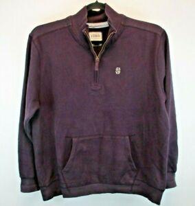 Izod L/S Men's XL Pullover Sweatshirt Purple Solid Color 1/4 Zip Mock Collar