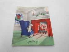 Scotty Dog In Front Of Fireplace Christmas Art Deco Card Vintage