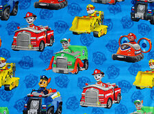 PAW PATROL 100% COTTON FABRIC  CHASE RUBBLE  SPIN MASTER DAVID TEXTILES  YARDAGE