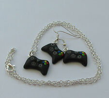 Handmade Black X Game Controller Earrings and or Necklace - Boxed Gamer Gift