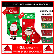 Personalised Santa Elf Christmas Sack Stocking Children Kids Adult Gift FREE HAT