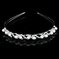 FLOWER GIRL/HOLY COMMUNION/BRIDAL GIRLS Crystal Pearl Tiara Headband -Uk Seller