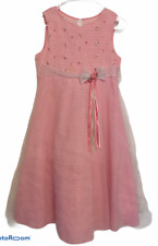 Bonnie Jean Girls Size 14 Pink White Gingham 3 layer tulle flowers Easter Dress