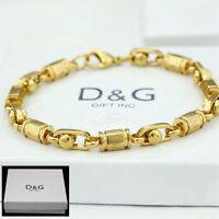 """DG Men's 8"""" Gold Stainless Steel 6mm,Link Chain Bracelet*Unisex + BOX"""
