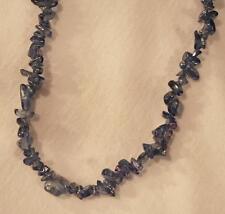 Striking Long Opalescent Medium Blue Glass Chip Beads Pendant Necklace