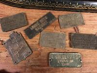 Lot de Plaques Bronze Machine Roubaix Tourcoing Métier à Tisser Cuir Industriel