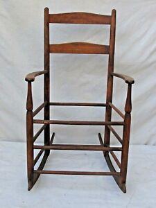 Antique American Slat Back Child's Rocking Chair c. 1850