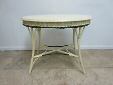 Antique Wicker Turtle Top Art Deco Porch Patio Center End Table