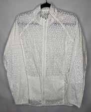 Adidas Rain Jacket Womens Size Large White Geometric See Through Print Nylon