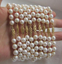 "wholesale Genuine 10pc 8-9mm white south sea pearl bracelet 7.5-8""14K Gold Clasp"