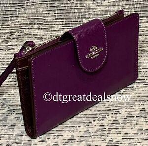 Coach Dark Amethyst Large Phone Tech Crossgrain Leather Wallet Wristlet C2869