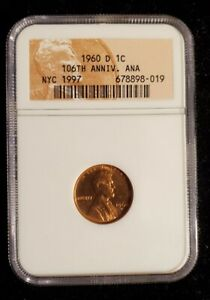 NGC sample 1960-D Cent Small Date ANA 106th Anniversary NYC 1997 Scarce!  (bb8)