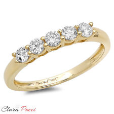 0.60 CT Round Cut 5-Stone Engagement Wedding Ring Band SOLID 14K Yellow Gold