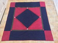 """IMPRESSIONS INDIA QUILT 90""""X80"""" CRANBERRY NAVY RED GREEN GENTLY USED 100% COTTON"""