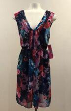 Betsey Johnson - Blue Multi Floral Print Elastic Waist Chiffon Dress - Sz: 8