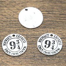 15pcs HP Hogwarts Express Platform Charms silvertone 9 3/4 Quarters pendant 20mm