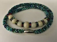 Handmade Kumihimo Beaded Ocean Blues Greens with Onyx Crystals Magnetic Necklace