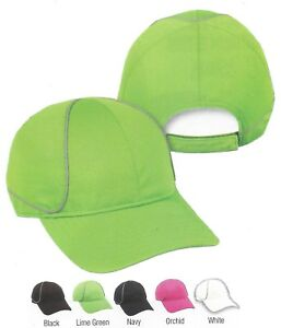REFLECTIVE Runner Unstructured Lightweight Wicking Adjustable Cap Hat 5 Colors