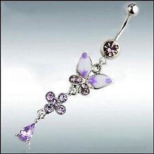 Purple Butterfly Flower Navel Ring Dangle Button Belly Body Piercing Jewelry
