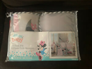Lambs & Ivy Disney Baby Minnie Mouse 4 Piece Crib Bumper, Pink/Gray