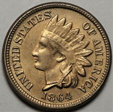 1864 Copper Nickel Indian Head Cent Lustrous Almost Uncirculated AU+ 1c Coin