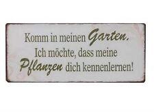 Blechschild Spruch Komm in meinen Garten Retro Schild Nostalgie Deko Wandschild