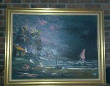 Super Rare LEWIS VAN DERCAR Tiki Painting Original Signed 1967 Framed @ SEE BIO@