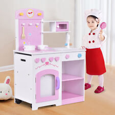 Large Kids Wooden Kitchen Pretend Role Toy Play Set Children Cooker Cooking Pan