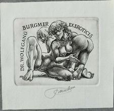 Frank Ivo van DAMME Eroticis Exlibris Erotic Nude Spanking Copper Engraving #223