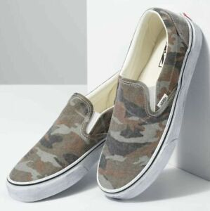 Vans Classic Slip On Washed Camo True White Distressed Sole Mens 9.5 VN0A4U3819W