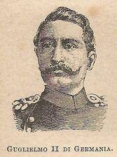 A0471 Guglielmo II di Germania - Stampa Antica del 1907 - Xilografia