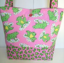 PINK FROG DIAPER BAG BABY GIRL TOTE HANDBAG STROLLER HAND MADE  JR.DEB DESIGNS