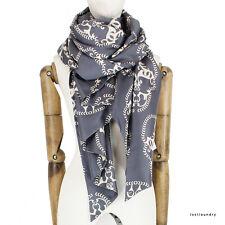 Thomas Wylde Grey Ivory Skull Patterned Luxurious Pure Silk Scarf Shawl Wrap