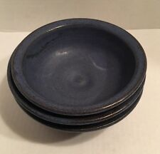 3 Groundhog Blues Pottery Bowls Signed Pennsylvania Pottery