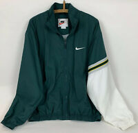 VTG 90's Nike Mens Windbreaker Jacket Full Zip Embroidered Swoosh Green Size L