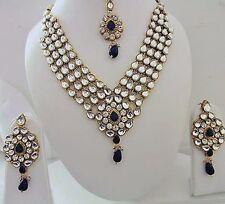 Indian Bollywood Designer Bridal Blue Kundan Pearls Fashion Jewelry Sets