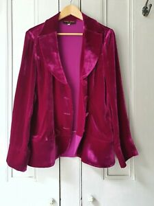 Silk Velvet Jacket  Besarani Collection Magenta / Cerise Pink   XL