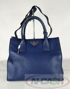 BID! AUTHENTIC $1780 PRADA BN2693 Bluette Vit. Daino Convertible Tote Bag