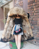 NP05 Women's Parka Coat Real Fur lining Winter Jacket extra long length 110cm